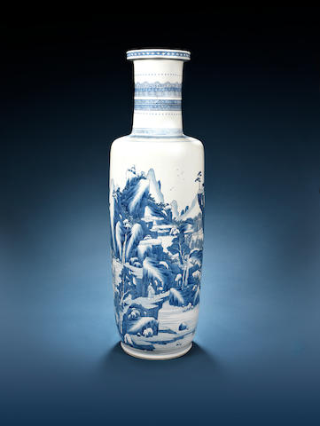 A very large blue and white rouleau vase Kangxi