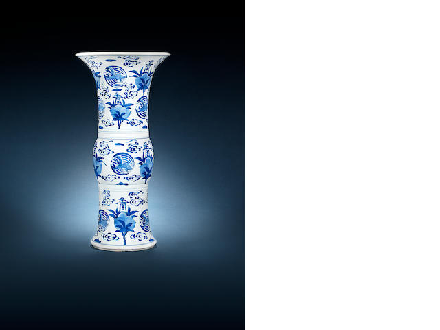 A blue and white 'crane and peach' flaring vase, gu Kangxi