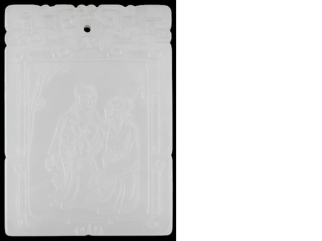 A white jade plaque 19th century