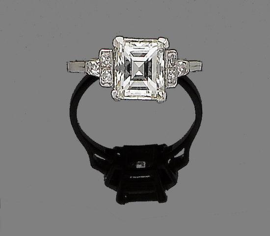 An art deco diamond single-stone ring,