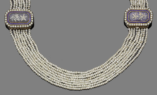 An early 20th century seed pearl and enamel necklace