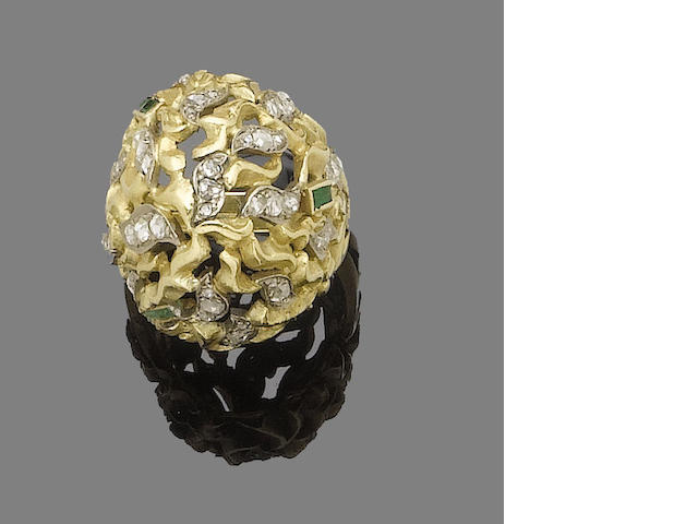 An emerald and diamond ring, by John Donald,