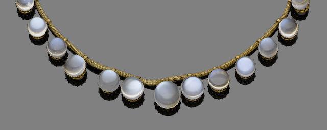 A moonstone fringe necklace,
