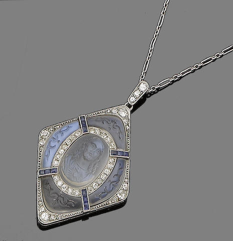 A moonstone, sapphire and diamond pendant necklace,