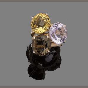 Three gem-set and diamond rings (3)