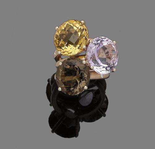 Three gem-set and diamond rings (3)