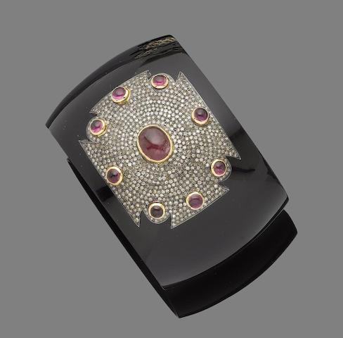 A bakelite, diamond, and tourmaline bangle