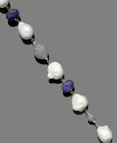 A cultured pearl, tanzanite and diamond necklace