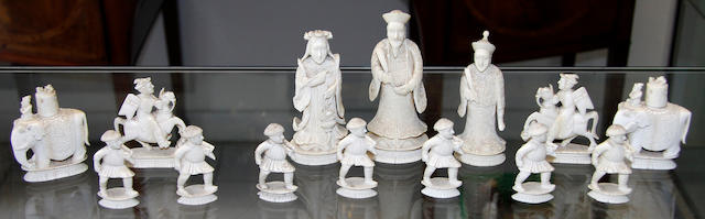A late 19th century Cantonese part chess set