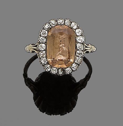 A 19th century topaz and diamond ring