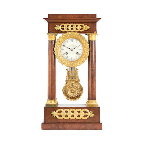 A late 19th century mahogany and gilt metal mounted portico clock