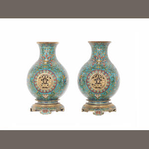A rare pair of cloisonné enamel reticulated wall-vases Qianlong