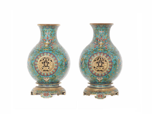 A very rare pair of cloisonné enamel flat-backed reticulated wall vases Qianlong
