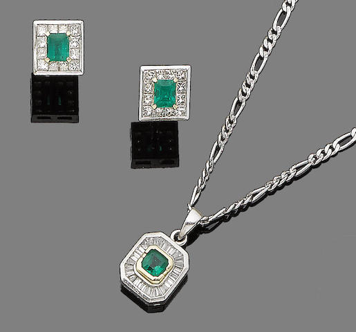 An emerald and diamond pendant necklace and a pair of emerald and diamond earrings (2)