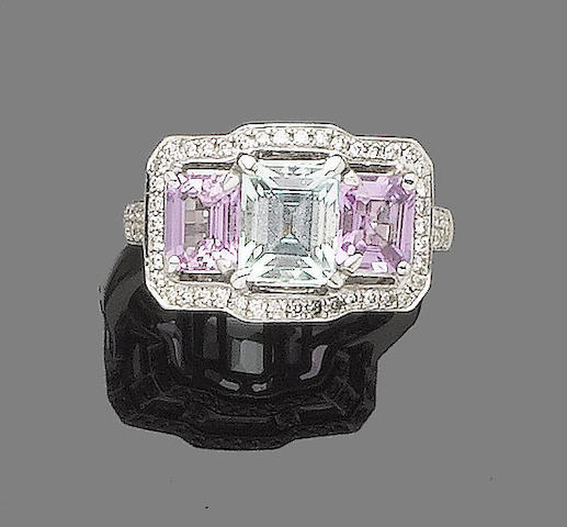 A blue tourmaline, pink sapphire and diamond cluster ring