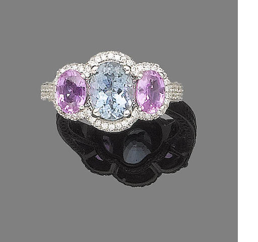 An aquamarine, pink sapphire and diamond ring