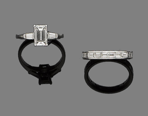 A diamond single-stone ring and a diamond eternity ring (2)