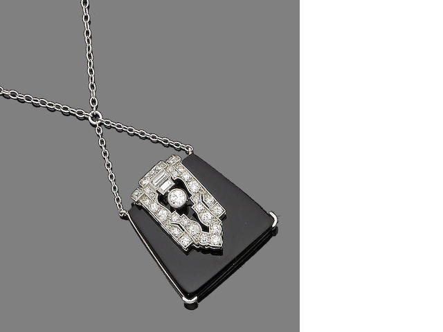 An onyx and diamond pendant necklace