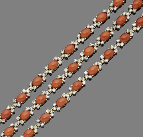 A coral and diamond necklace/bracelet combination (3)