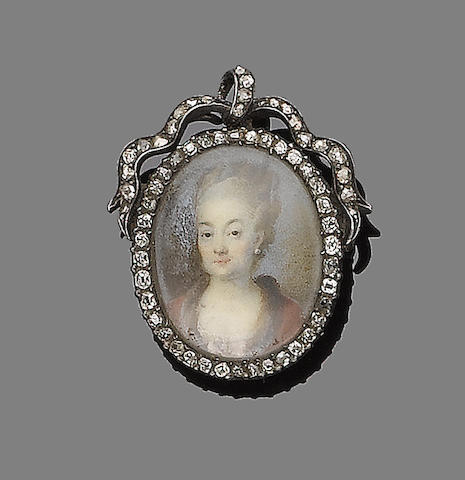 A diamond-set portrait miniature brooch/pendant