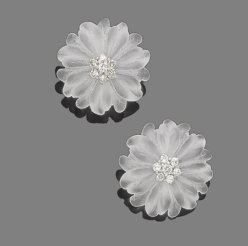 A pair of rock crystal and diamond earrings