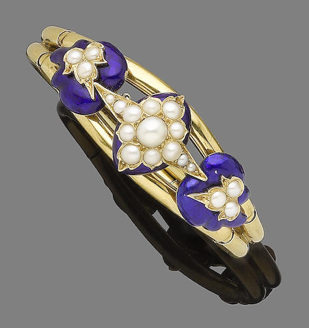 An enamel and cultured pearl bangle,