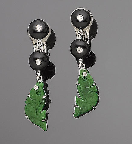 A pair of jade, onyx and diamond pendent earrings