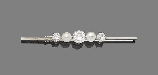 A cultured pearl and diamond bar brooch