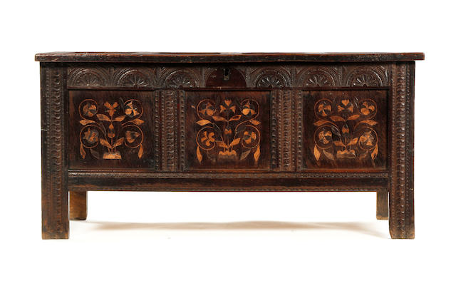 A Charles I oak coffer, with later marquetry Possibly Salisbury