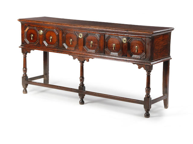 A William & Mary oak and elm geometric low dresser, circa 1690