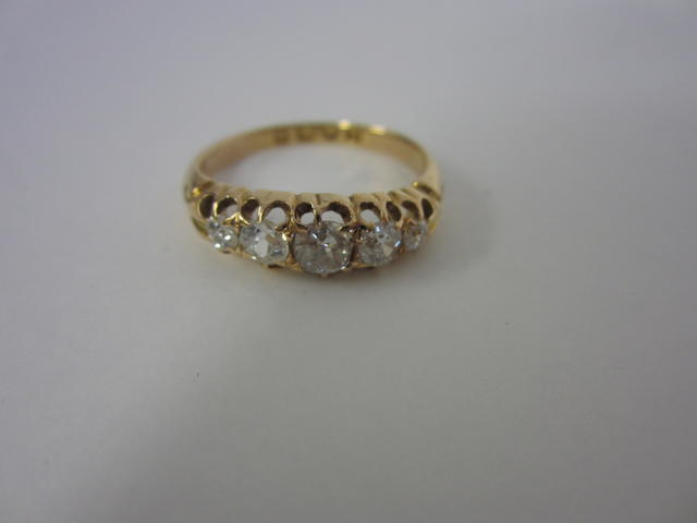 A Victorian 18ct gold and diamond five stone ring