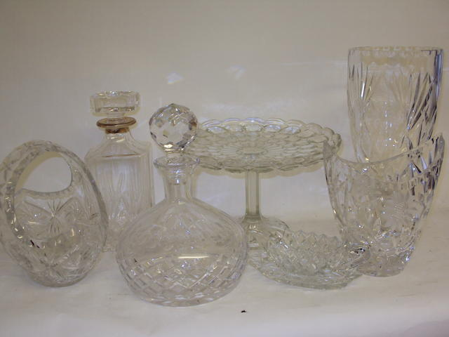 A collection of glass vases and decanters