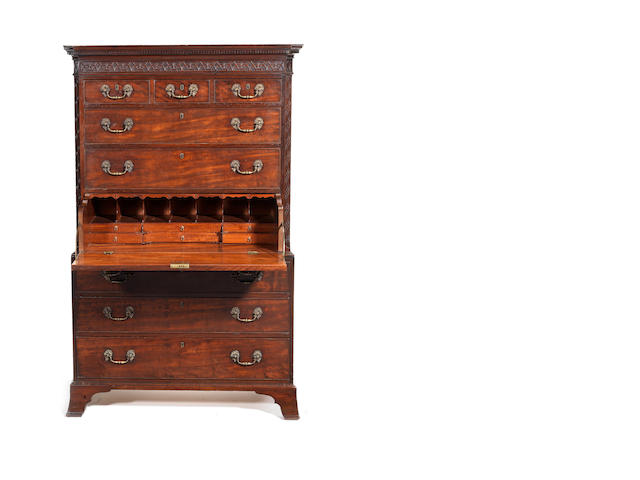 A George III mahogany small secretaire chest on chest