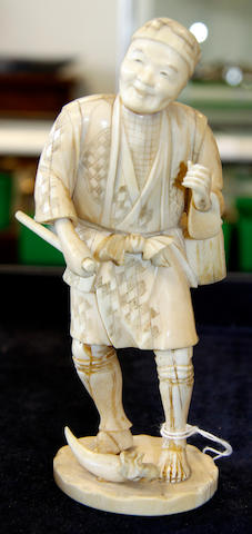 Two Japanese carved ivory figures, Meiji period Meiji period