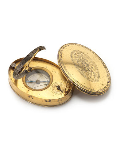 An unusual oval gilt brass universal equinoctial dial, German, circa 1700,