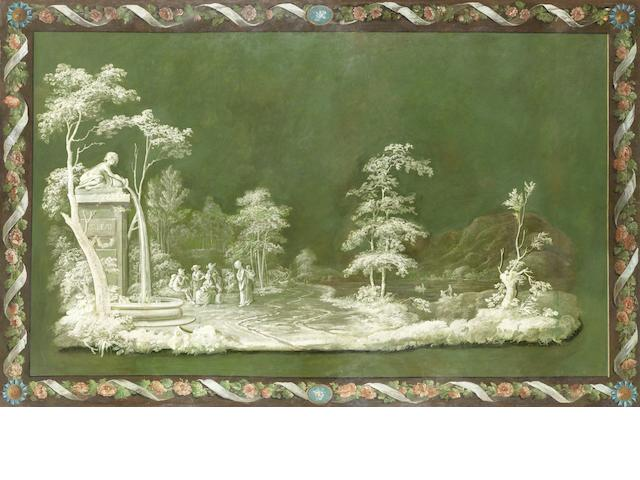 French School 18th century A capriccio of figures in a landscape within a floral border