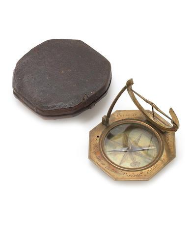 A Macquert & Cadot brass equinoctial dial,  French,  circa 1730,