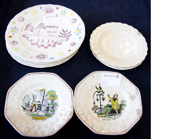 Eight Cambrian pottery nursery plates,