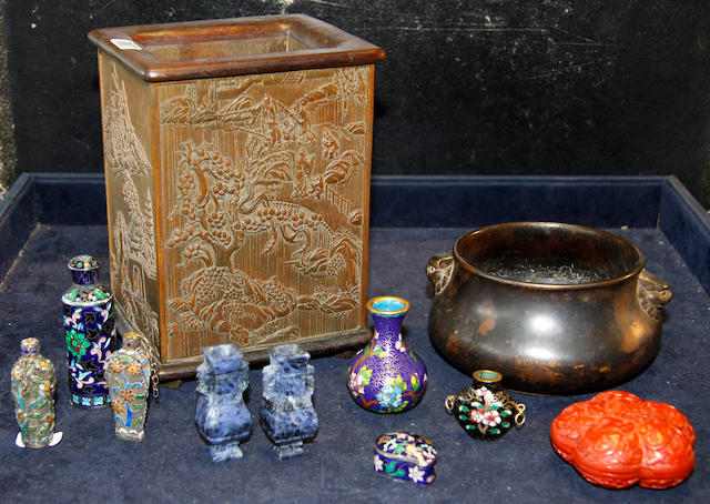 A bronze gui together with a small group of Oriental items,