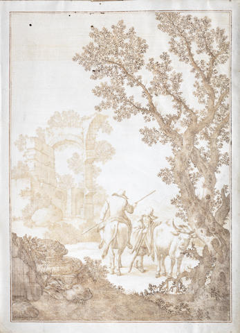 Gaetano Biccari (active Italy, 18th Century) A huntsman on horseback with attendant on foot and a dog, and A herdsman seated on a cow with another standing by  (2)