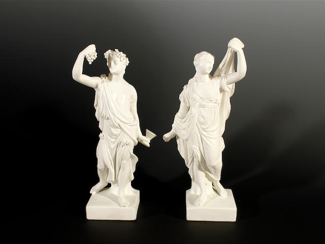 A pair of Derby biscuit figures of Bacchus and Ariadne, circa 1775-80