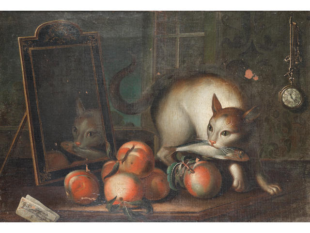 Sebastiano Lazzari (Verona 1730-circa 1795 ?Venice) A cat holding a fish in its mouth, beside a mirror and peaches on a table, an open window and a watch hanging from a chain on the wall behind