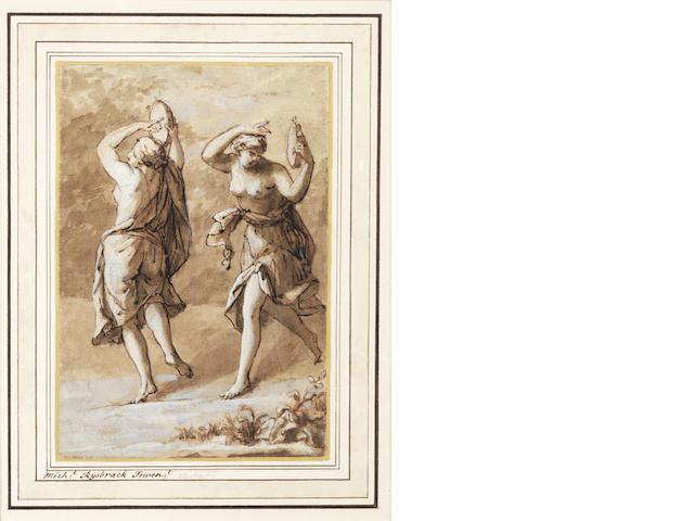John Michael Rysbrack (Antwerp 1694-1770) Two Maenads dancing playing tambourines
