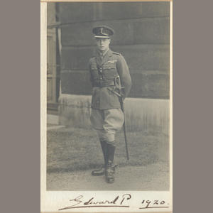 "EDWARD VIII. Photograph, signed and dated on the mount (""Edward P 1920""), 1920"