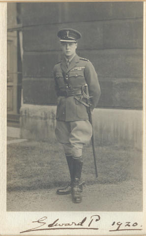 """EDWARD VIII. Photograph, signed and dated on the mount (""""Edward P 1920""""), 1920"""