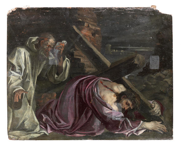 Italian School, late 16th Century Road to Calvary, 4th Station of the Cross unframed