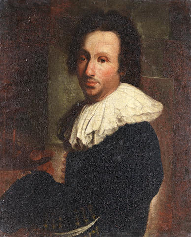 French School, late 18th Century Portrait of an artist at his easel unframed