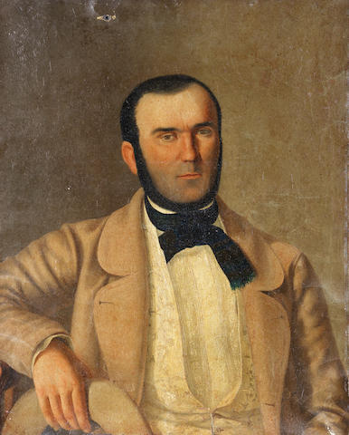 South American School, 19th Century Portrait of a gentleman, half-length, in a beige jacket and a black neckerchief unframed