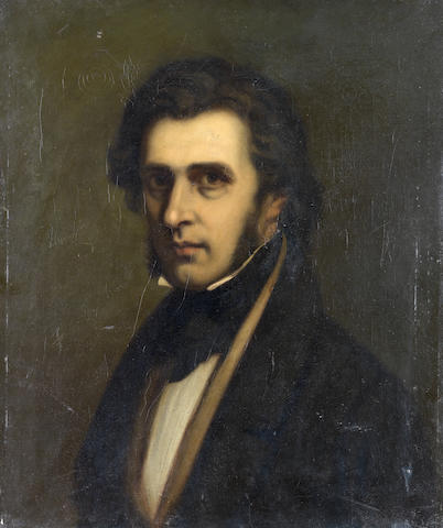 Continental School, 19th Century Portrait of a gentleman, bust-length, in a black coat unframed