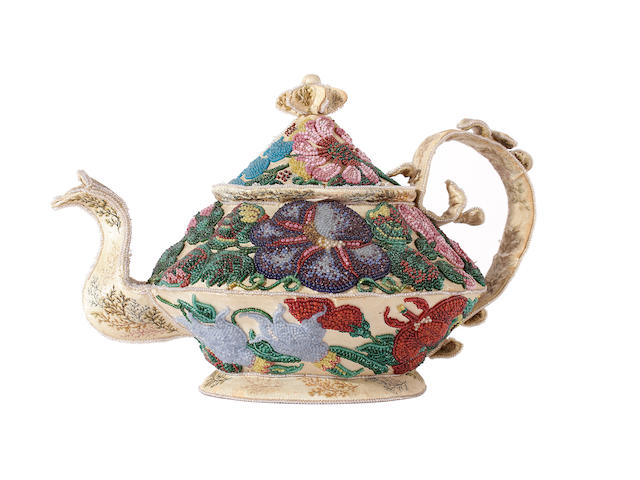 A rare, if not unique, mid Victorian beadwork on silk teapot